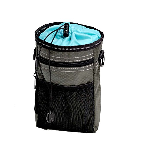 FIRIK Pet Treat Pouch for Training and Walking - Dog Training Pouch Treat Bag with Drawstring Inner, Poop Bag Dispenser, Metal Clip, Adjustable Waist Belt & Shoulder Strap