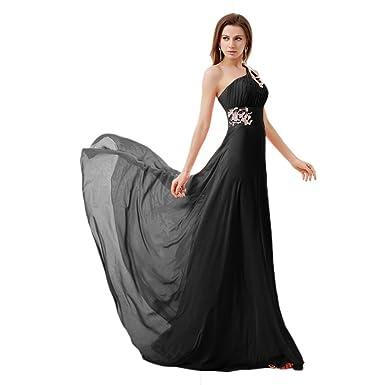 3ae2b36ca19 vimans Elegant One Shoulder Casual Homecoming Gown Long Black Dresses