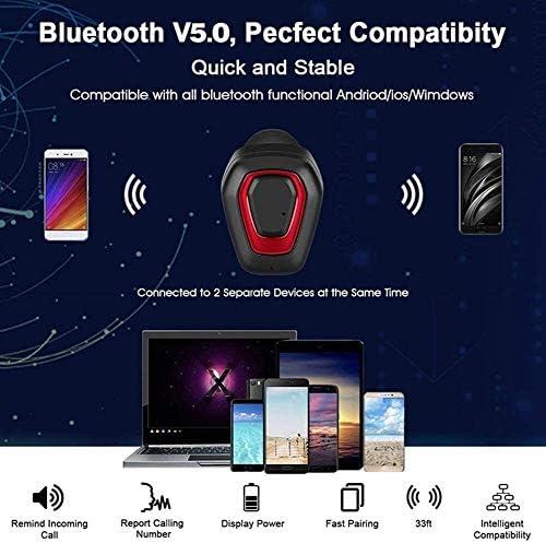 TYGYDLQ ワイヤレスヘッドセット、内蔵マイクのヘッドセットのBluetooth 5.0ヘッドセット、イヤーヘッドフォンスポーツヘッドフォン、ノイズキャンセリングヘッドフォン、ポータブルミニヘッドフォン (Color : Red)