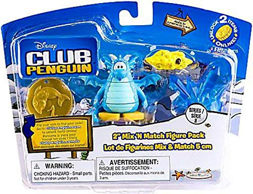 Disney Club Penguin Series 8 Mix N Match Mini Figure Pack Blue Dragon with Arch, Mound of Gold Blue Crystal Includes Coin with ()