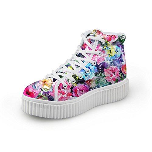 HUGS IDEA Fashion Flower Women Platform Sneakers High Top Shoes Flower3 BQnZVvjCn