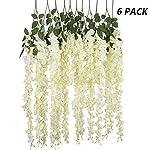 Kuqqi-36-Feet-Artificial-Silk-Wisteria-Vine-Ratta-Silk-Hanging-Flower-Wedding-Decor6-PiecesWhite