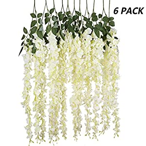 Kuqqi 3.6 Feet Artificial Silk Wisteria Vine Ratta Silk Hanging Flower Wedding Decor,6 Pieces,(White) 76