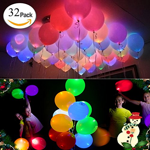32 Pack LED Light Up Balloons - Premium Party Lights - Ideal for Parties, Birthdays and Wedding Decorations - Lasts 8-24 Hours - Pull the Tab and Balloons Glow by (Lit Balloons)