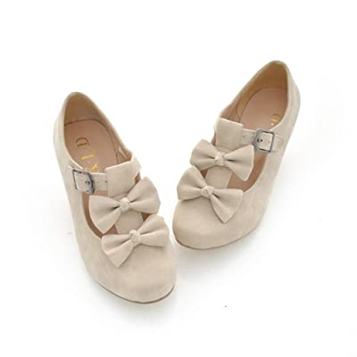 MFairy Woman's Low Heel Vintage Lolita Shoes Cute Bowknot Mary Jane Shoes | Shoes
