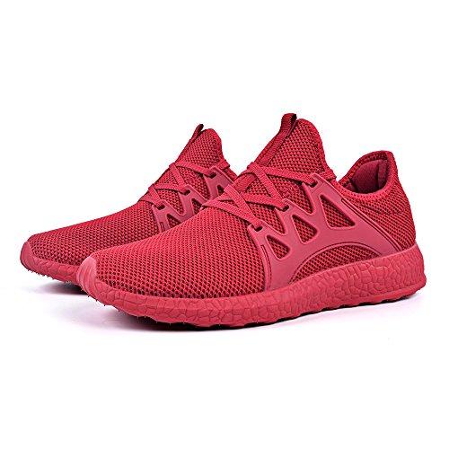 Feetmat Herren Sneakers Leichte atmungsaktive Mesh Gym Freizeitschuhe rot