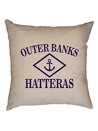 Hollywood Thread Outer Banks - Hatteras, NC - Nautical Anchor Decorative Linen Throw Cushion Pillow Case with ()