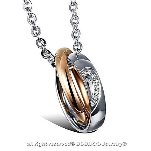 BOBIJOO Jewelry - Ensemble Double Collier Pendentif Couple Anneaux Or Rose Noir Strass Zirconium