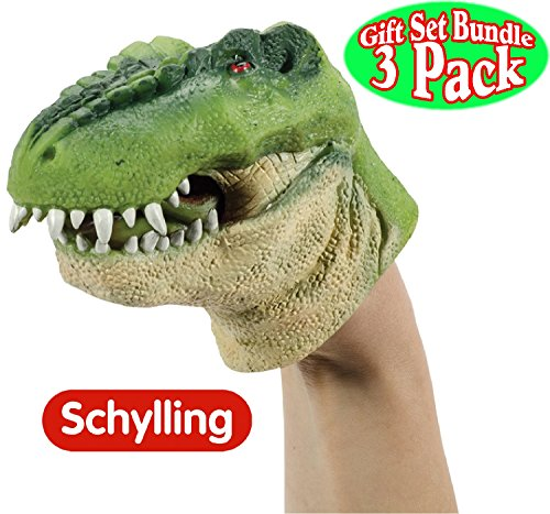 Schylling Dinosaur  Stretchy Hand Puppets Green, Brown & Red