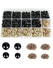 1040 PCS Colorful Plastic Safety Eyes and Noses with Washer Multiple Sizes Doll Eyes Amigurumi Eyes Teddy Bear Eyes for Doll, Plush Animal and Teddy Bear Craft Making…