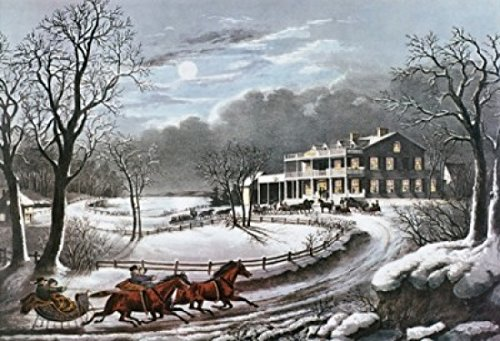 American Winter Scenes Evening Currier & Ives (1834-1907 American) Print Poster Print (24 x (Currier Ives Winter Scenes)