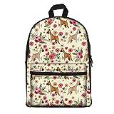 Coloranimal Shoulder Bagpack for Preschool Students Book Bags Boxer Flower Printed Canvas Backpacks Travel Hiking Carrier Backpack