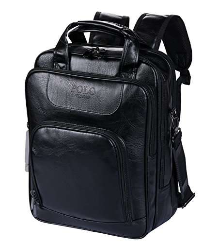 fccf03e6541e POLO VIDENG Laptop Handbags Backpack Leather Shoulder Bag Business Travel  School Bags Fit for 13 15