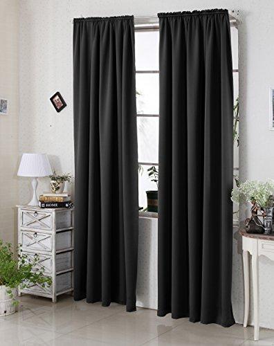 WOLTU #330 Gardine Vorhang blickdicht , Verdunkelungsvorhang Thermovorhang mit Kräuselband , schwere Verdunkelungsgardine , 135x175cm , Schwarz