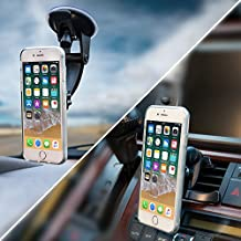 2-in-1 Magnetic Phone Holder for Car, Mount Phone or GPS to Air Vent or Windshield, Extra-Strong Magnets, Fits Iphone X 8 7 6 5 Samsung Galaxy S8 S7 S6, LG V30 HTC One, Nokia Phones. Universal Fit