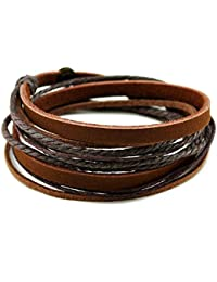 Genuine Leather Multilayer Braided Leather Wrap Bracelet Cuffs Brown