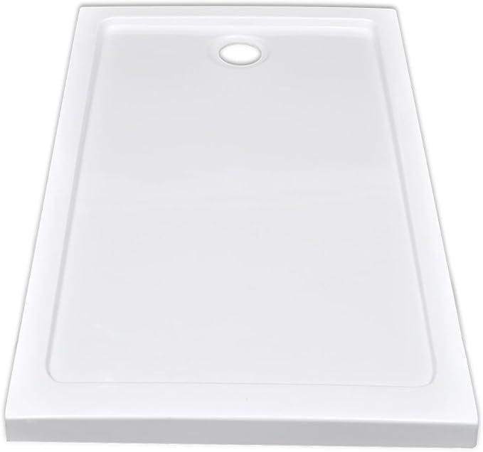 vidaXL Plato Ducha Rectangular Antideslizante ABS Blanco 70x120 cm ...