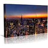 New York at Dusk Framed Canvas Art Print - Wall Art - Contempoary Art - Gallery Wrapped Framed Ready to Hang 20 inch x 30 inch