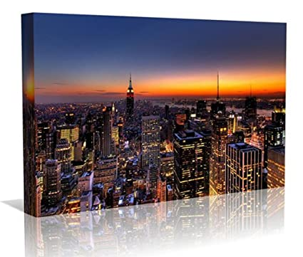 Art print POSTER CANVAS Los Angeles Skyline at Dusk