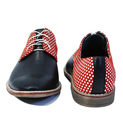 PeppeShoes Modello Ragusa - Handmade Italiennes Cuir Pour des Hommes Rouge Chaussures Oxfords - Cuir de Vachette Cuir Souple - Lacer