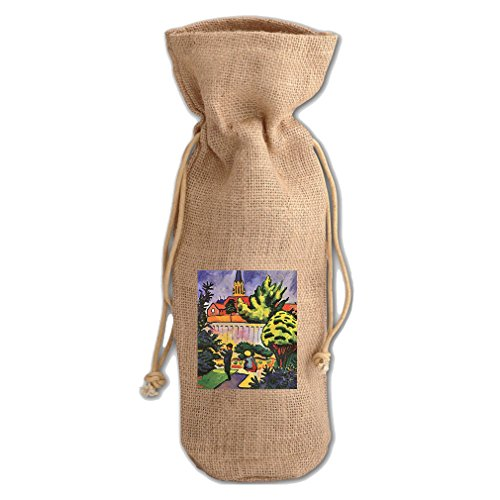 Children In The Garden (August Macke) Jute Burlap Burlap Wine Drawstring Bag (Macke Garden)