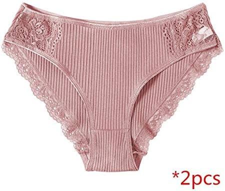 YPDDNK Marca Bragas de algodón Ropa Interior de Mujer Bragas Calzoncillos de Encaje para Mujer Ropa Interior de algodón a Rayas Ropa Interior de Cintura Baja Floral Culotte Femme L Dark pink2: