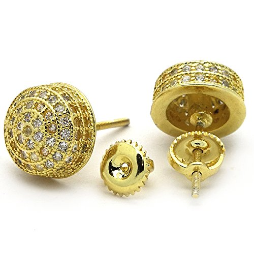 Men's Gold Tone ICED OUT Micropave 3D Dome Cz Earring Stud Round Screw Back Hip Hop by L & L Nation (Image #1)