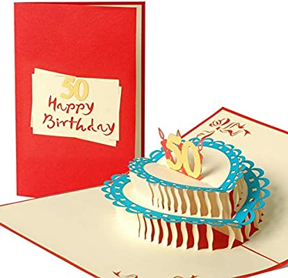 g14.3 Cake 50th cumpleaños, tarjeta de cumpleaños, regalo vales, tarjeta de felicitación de cumpleaños, hecho a mano