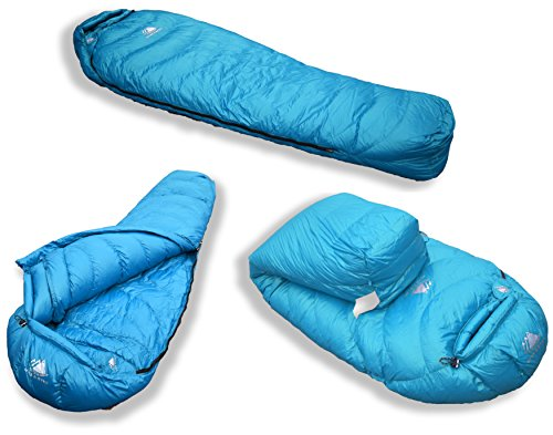 Hyke & Byke Snowmass 0 Degree Down Sleeping Bag for Backpacking, Ultralight Mummy Down Bag with Lightweight Compression Sack (Light Blue, Long)