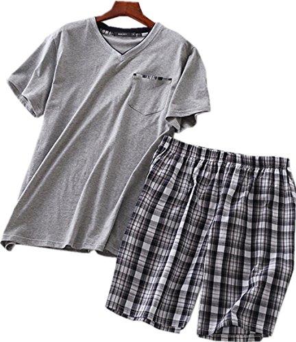 Amoy madrola Men's Cotton Soft Sleepwear/Short Sets/Pajamas Set SY227-V Grey-L