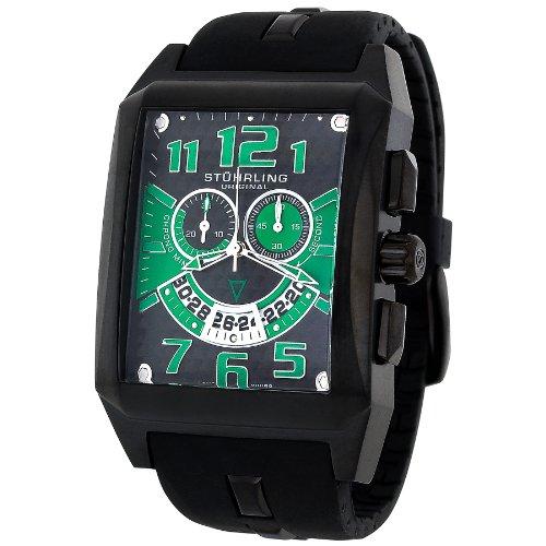 Stuhrling Original Men's 255A.335771 Leisure Mad Man C-2 Swiss Quartz Chronograph Date Green Silicone Rubber Strap Watch