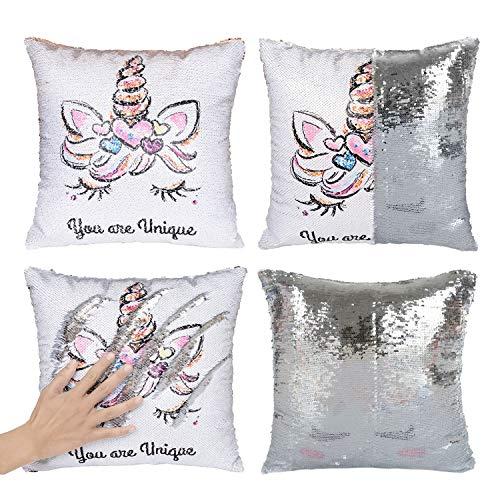 Merrycolor Mermaid Pillow Cover Unicorn Pillow Case Magic Reversible Sequin Pillow Cover Throw Cushion Case Decorative Pillowcase Silver(Only Pillow Cover)