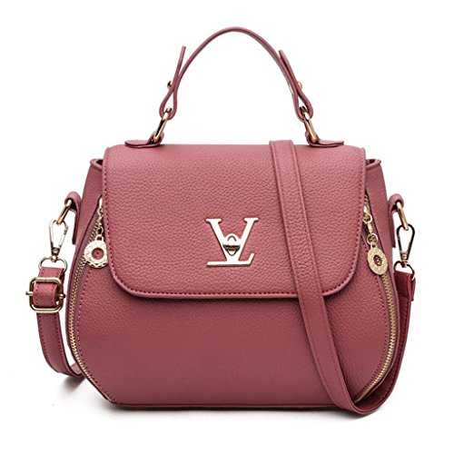 a purple Donna Cinque Chiusura Diagonale a bean Packets paste colori Grain tracolla NVBAO Fashion singola cerniera Litchi Shopping borsa Cross red txTw1f