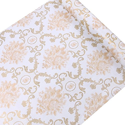 SimpleLife4U Gold Damask Self Adhesive Shelf Drawer Liner Decorative Contact Paper Valentine's Day ()