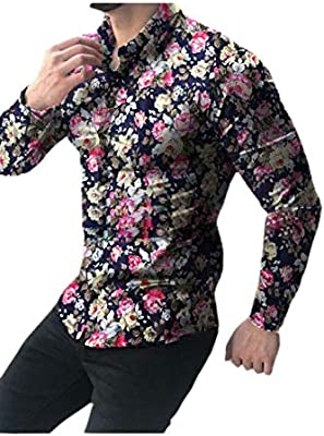Alion Men Long Sleeves Slim Fit Business Velvet Solid Button Down Shirts