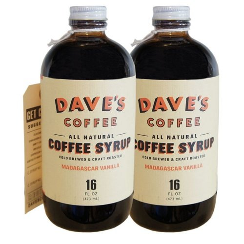 Dave's 16 Oz Vanilla All Natural Cold Brewed Coffee Syrup Two Pack
