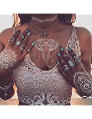 6 Sheets White Henna Temporary Tattoo,Flash Fake Waterproof Body Tattoos Stickers, Henna Tattoos Stickers