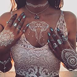 6 Sheets White Henna Temporary Tattoo Stickers Henna Body Paints Women Girls Designs,Flash Tattoo for Vibe Music Festivals Bohemian Coachella