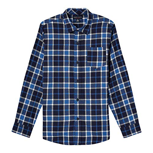 (French Toast Boys' Toddler Long Sleeve Flannel Shirt, Dark Navy, 4T)
