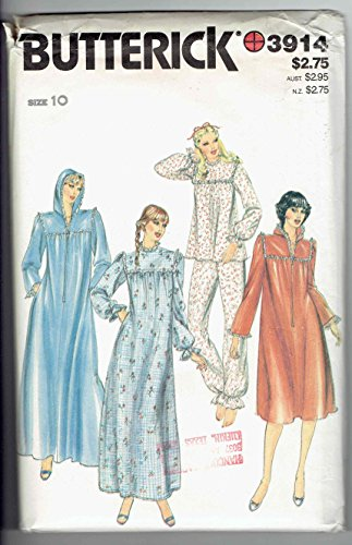 Butterick 3914 Women's Pajamas Nightgown Robe Vintage Sewing Pattern Size 10 - Vintage Nightgown Patterns