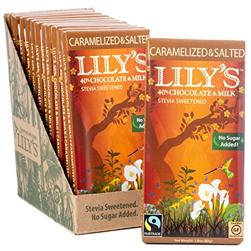 Caramelized & Salted Milk Chocolate Bar by Lily's Sweets | Stevia Sweetened, No Added Sugar, Low-Carb, Keto Friendly | 40% Cacao | Fair Trade, Gluten-Free & Non-GMO | 3 ounce, 12-Pack (Almond Baking Milk)