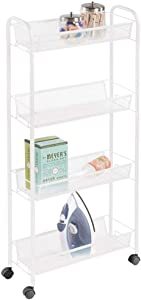 mDesign Portable Rolling Laundry Utility Cart Organizer Trolley with Easy-Glide Wheels and 4 Multipurpose Heavy-Duty Metal Mesh Basket Shelves - Narrow Shelf - Durable Steel Frame - White