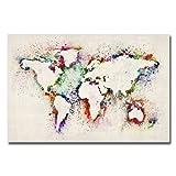 Trademark Fine Art Michael Tompsett World Map Paint Splashes Canvas Art