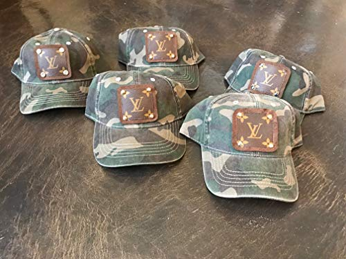 Camoflage Baseball Hat Cap with patch of upcycled Lous Vuitton - Hat Lv