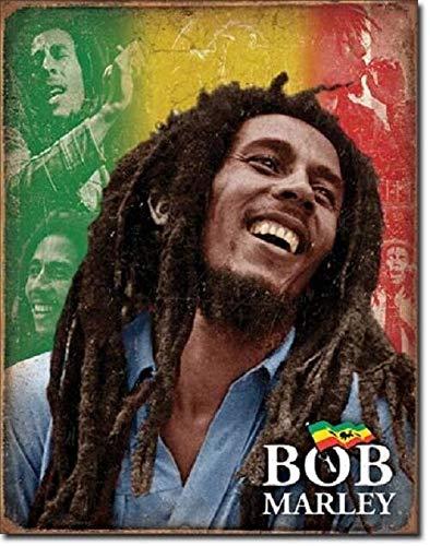 SRongmao Bob Marley Icon Legend Rasta Reggae Music Guitar Mosaic Wall Decor Metal Tin Sign 16x12in