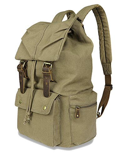 DAFROH - Bolso mochila  para mujer verde Segeltuch Armee-Grün medium Segeltuch Armee-Grün