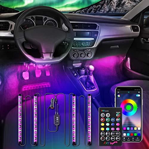 AMBOTHER Interior Car Lights APP LED Strip Light Atmosphere Upgrade Two-Line Design 4PCS IR Control Box Waterproof…