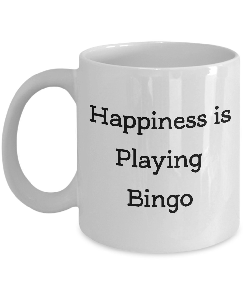 Gifts for Bingo Players - Happiness Is Playing Bingo Coffee Mug - Funny Birthday or Valentines Day Gift for Him, Her, Men, or Women - 11 oz White Ceramic