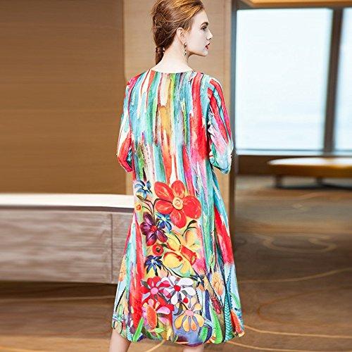 Longues t mi Rond de Longueur de Robe Modes Sept Soie Robe imprim Manches Femmes col MiGMV 2018 Nouvelles Gueules Robes Point XL Large W1nPWzUtT