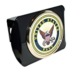 US Navy USN Black Metal Trailer Hitch Cover with Metal Seal Logo